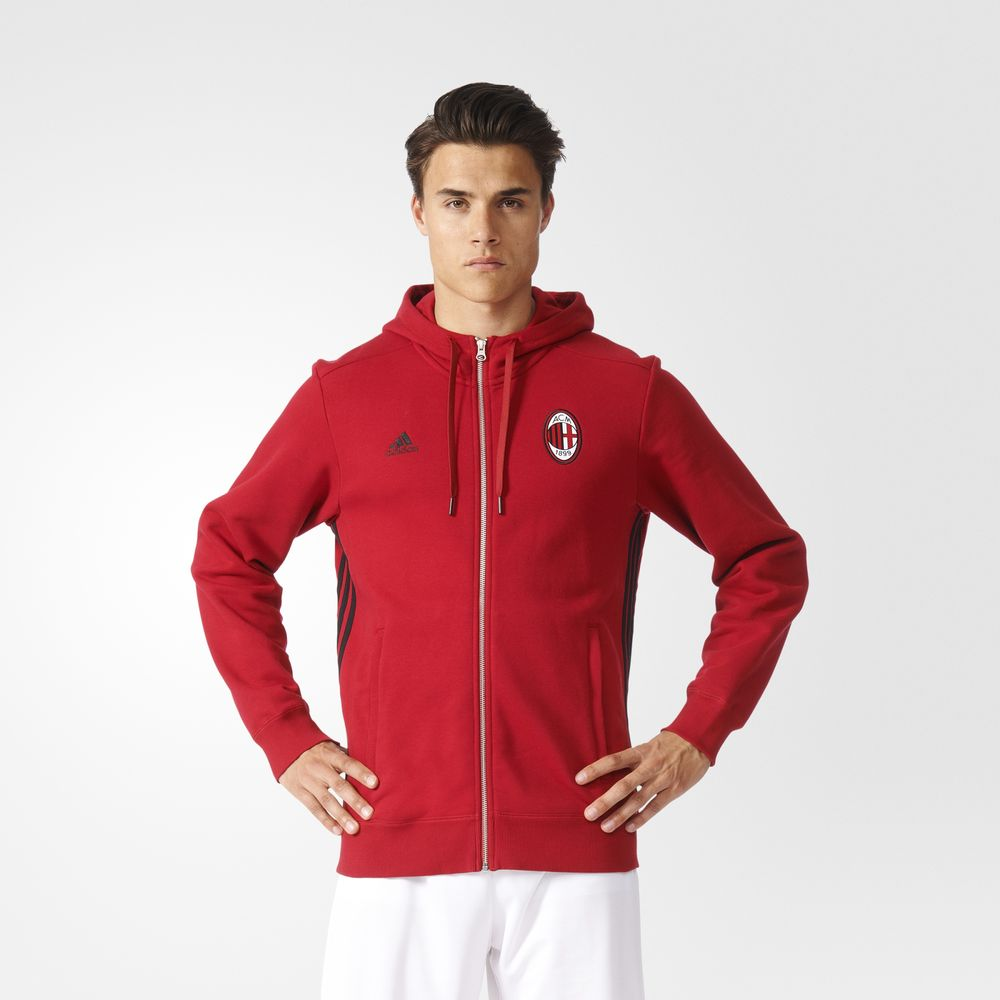 13e05f871a Adidas Ac Milan 3 Csíkos Futball Férfi Kapucnis Pulóver Fekete Piros  12881164BP
