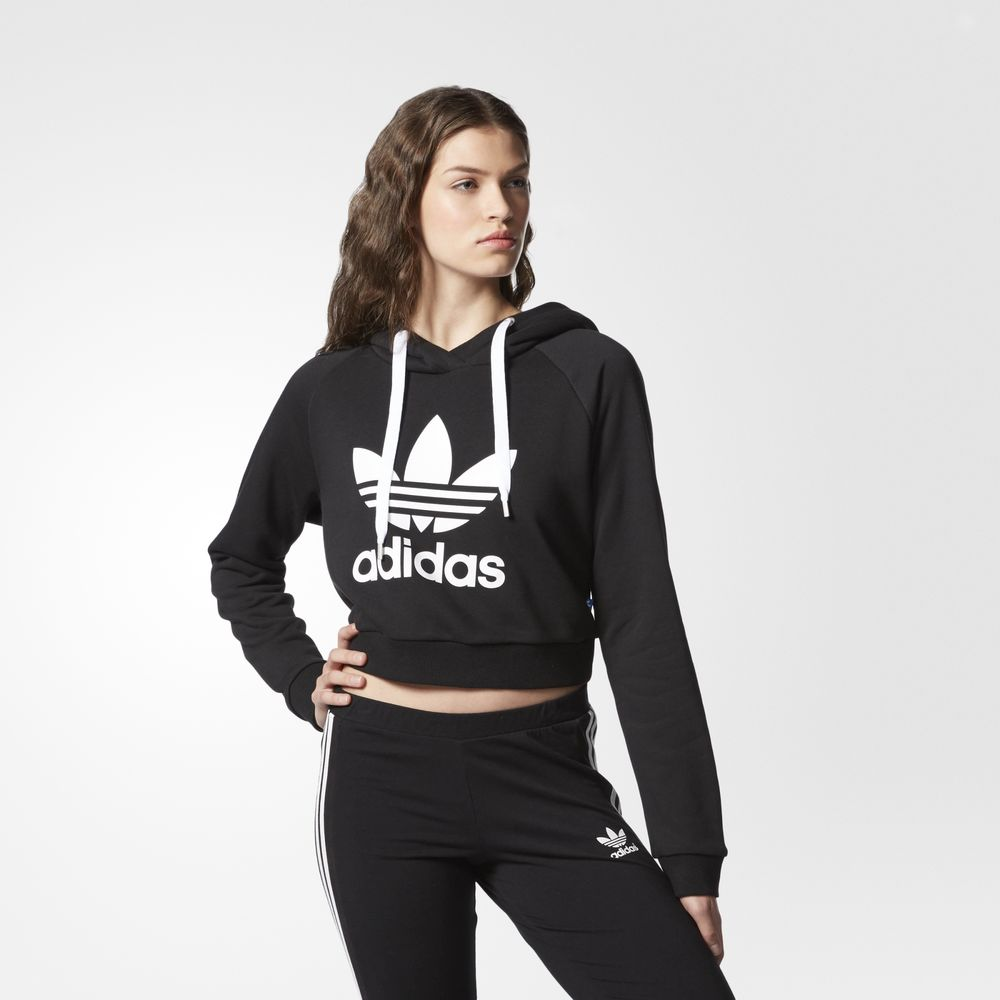 bc791b46560c Adidas Originals Crop Női Kapucnis Pulóver Fekete 84462585KT